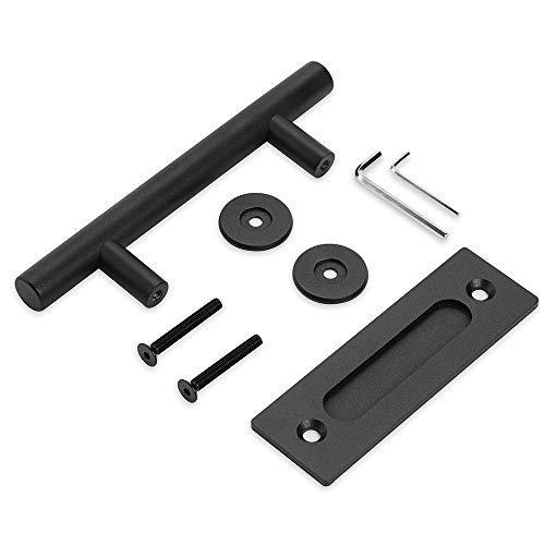"10"" Black Barn Door Pull Handle | Black 10 inch Round Heavy Duty Solid Steel Gate Handle | for Barn Door Gates Garages Sheds ()"