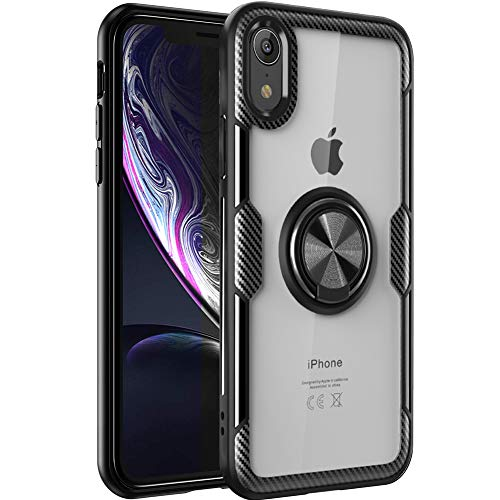 iPhone Xr Case,WATACHE Clear Crystal Carbon Fiber Design Armor Protective Case with 360 Degree Rotating Finger Ring Grip Holde Stand [Magnetic Car Mount Feature] for iPhone Xr,Black