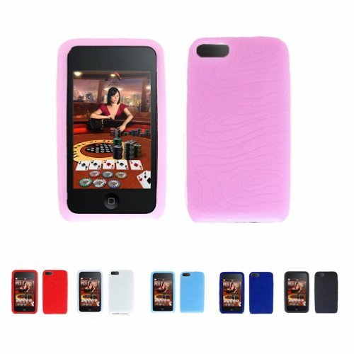 Apple iPod Touch 2 2G 2nd Generation 8GB 16GB 32GB TEXTURE Silicone Case Skin Protector Cover+ Free Screen Protector (Many Colors Available) (PINK)