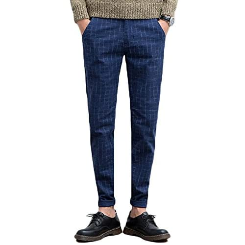 bf66c844f2 XQS Men Slim Fit Straight-Leg Plaid Pants Skinny Trousers outlet ...