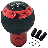 LUNSOM Manual 5 Speed Automatic Transmission Universal Shift Knob Blue Leather Knobs Shifter Handle with Tiny Screws for Car Parts Gear Stick Head (Red)