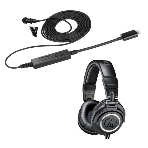 Sennheiser ClipMic digital Mobile Recording Microphone for iOS Devices with Audio-Technica ATH-M50x Monitor Headphones (Black)