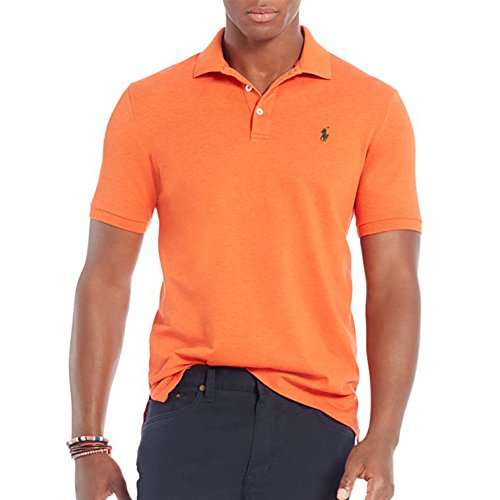 Polo Ralph Lauren Short-Sleeved Cotton Mesh Slim Fit Polo (Medium, Orange)