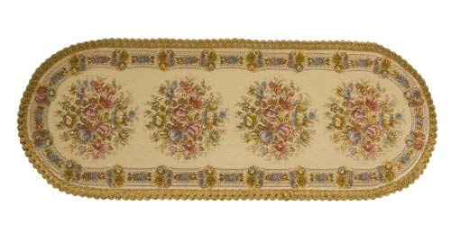 Nouvel, AG Switzerland Table Runners, Dresser Scarf, Place Mats and Doily in Floral Brocade, Swiss Made (14 x 37 Inches Oval Runner)