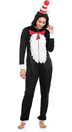 Dr Seuss Cat in the Hat Women's Onesie Plush Fleece Union Suit Pajama