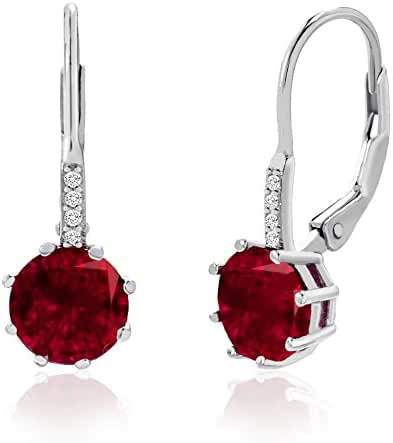 Sterling Silver Created Gemstone Cubic Zirconia Drop Leverback Earrings & Pendant