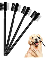 LUTER 4 Pcs Tear Stain Remover Comb Dog Flea Comb Double-Sided Dog Eye Comb Brush Pets Grooming Comb for Dogs Cats Removing Crust and Mucus