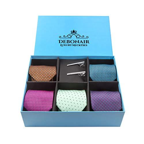 - Luxury Men's Necktie Collections in Gift Box, 5 Italian Fabric Neckties, 2 Modern Tie Bars, Handcrafted Designer Gift Box (Orange, Pink, Purple, Blue, Green)