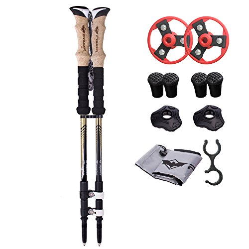 NEWBRELLAs Pioneer E-674K Aerospace-grade Carbon Fiber 6.99oz Lightweight Trekking Poles Hiking Walking Stick with Cork Grips Handles (Pair, Carbon, Gold and Pearl)