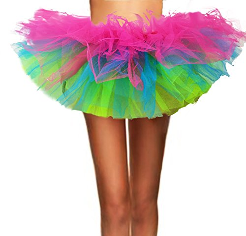 T-Crossworld Women's Classic 5 Layered Puffy Mini Tulle Tutu Bubble Ballet Skirt Rainbow Small