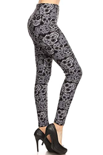 - S616-PLUS Charcoaled Sugar Skull Print Fashion Leggings