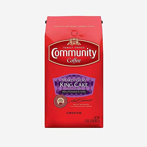 Community Coffee - Mardi Gras King Cake Flavored Medium Roast - Premium Ground Coffee - 32 oz Bag