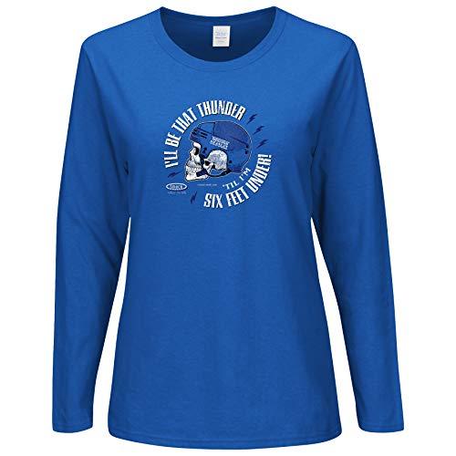 (Smack Apparel Tampa Bay Hockey Fans. I'll Be That Thunder 'Till I'm Six Feet Under. Royal Blue Ladies T-Shirt (Sm-2X) (Long Sleeve, Medium))