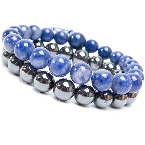FROG SAC 2 Semi-Precious Bracelets - Unisex Healing Bracelets Beaded with Natural 8mm Semi Precious Round Gemstones - Handmade Stretch Bracelets for Chakra Meditation and Anxiety (Hematite-Lapis)