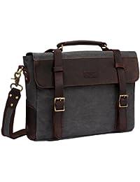Vintage Genuine Leather Canvas Messenger Bag Laptop Briefcase Satchel Shoulder Bag Bookbag with Detchable Strap