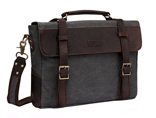 (Vaschy Vintage Canvas Leather Messenger Bag School Shoulder Bag Business Briefcase Satchel Gray )