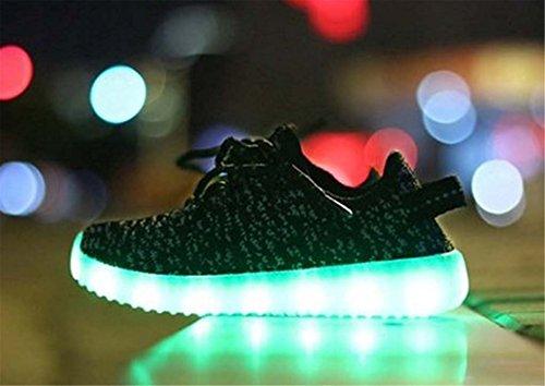 Labaqiangj Bambino Scarpe Led Illuminano La Ricarica Usb Lampeggiante Moda Sneaker Slip-on Scarpe Sportive Per Bambini Grigio Scuro