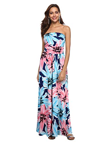 Liebeye Women Wrap Chest Casual Floral Dress Empire Waist Strapless Sleeveless Maxi Dress Long Skirt for Party Summer Beach Bule S