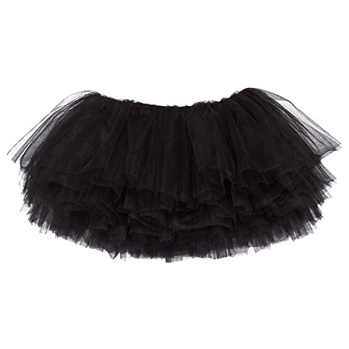 My Lello Little Girls 10-Layer Short Ballet Tulle Tutu Skirt (4 mo. - 3T) -Black -