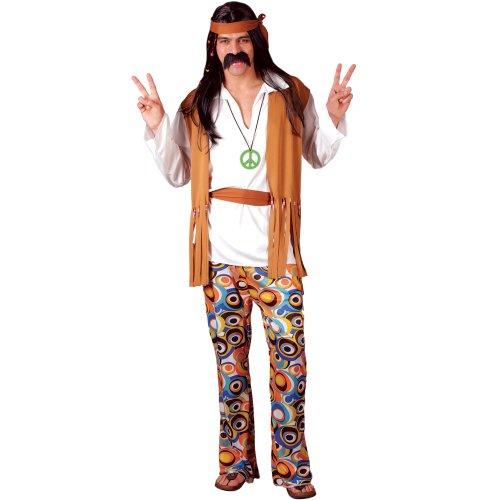 Hippie Mens Fancy Dress Costume Adults Funky Woodstock 4 Sizes (Men: Large)