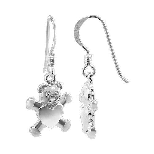 925 Sterling Silver Teddy Bear Heart Drop Earrings with French Hook -
