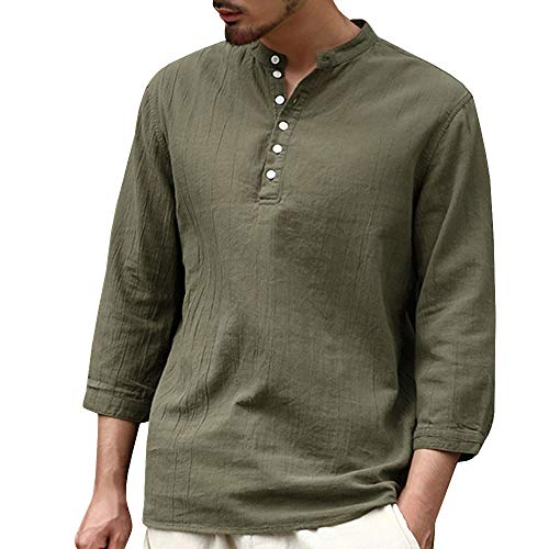 Easytoy Mens V Neck Cotton Linen Hippie Shirts 3/4 Sleeve Casual Henley T-Shirt Beach Yoga Loose Fit Top (Army Green, L)