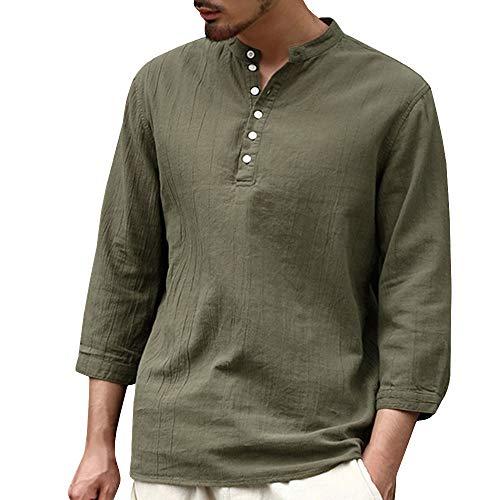 Mens Shirts Linen Casual Tops Tronet Men's Baggy Cotton Linen 3/4 Sleeve Button Retro V Neck T Shirts Tops Blouse