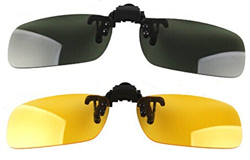 Wonderfulsight 2 Piece Day+Night Vision Polarized Clip-on Flip-up Sunglasses Necessary for Driving (A: Dark - Sunglasses Flipup