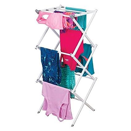 mDesign Tendedero extensible – Colgador de ropa con tres alturas – Tendedero plegable para la lavandería