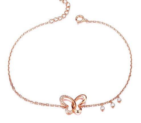 Gowe Papillon 0.09CT Naturel véritable diamant Bracelet en or rose 18K Bijoux fine