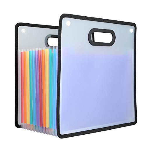 Accordion File Folder, 12 Pockets Expanding File Organizer, A4 Paper File Guide, Rainbow Coloured Portable File Folder Box with Snap Fastener Sealed Design and Label Tape for - Folder Portable File Small