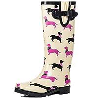 Spylovebuy Knee High Flat Welly Rain Boots Cream Rubber Sz 9