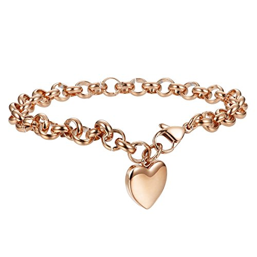 Cute Heart Charm - FIBO STEEL Womens Stainless Steel Charm Bracelet for Girls Chain Link Bracelets,7.5 inches Rosegold-Tone