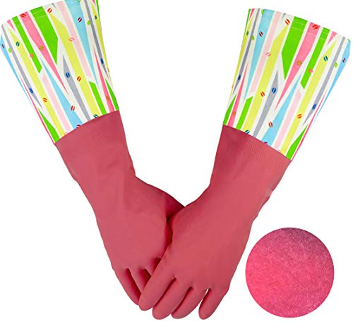 Cleanbear Dishwasher Gloves with Flock Lining, Rubber Gloves Heavy Duty Latex Gloves, 15 Inches (Lip Prints - 2 - Gloves Print Lined