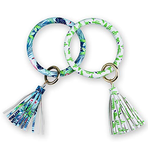Keychain Bracelet Bangle Men Women Vegan Leather Multicolored Design Key Ring Loop Key Fob Saver (Pack of 2) (bule/green) - Loop Chain Bracelet