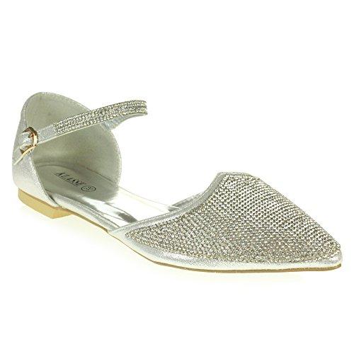 Taille Pompe à Femmes d'honneur Demoiselle Bal Fête Plate Sandales Argent Mariage Chaussures de De mariée Dames Diamante Soir Brillant TWqrwB6OT