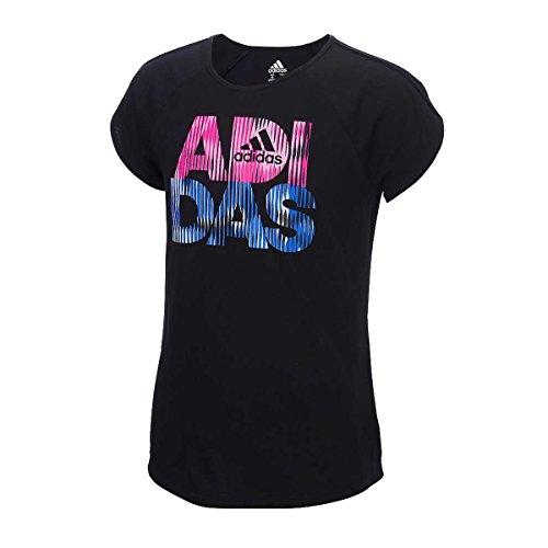 Adidas Active Cap Sleeve T-Shirt for Girls (Small / 8-10, Black) (Adidas T-shirt Cap)
