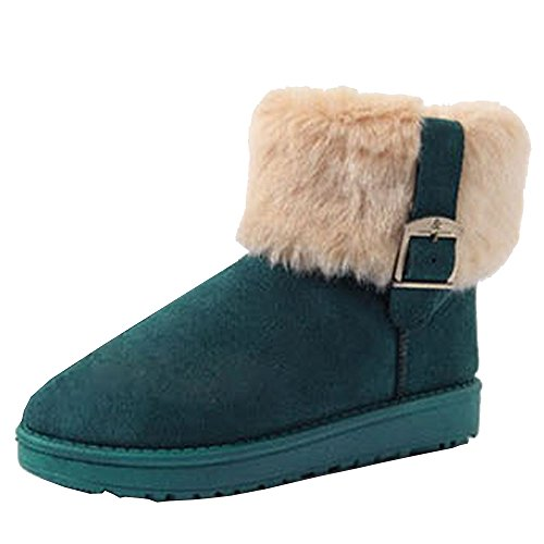 Green Women Fur Faux Snow Ankle Optimal Boots Rabbit xTw1qOwR8