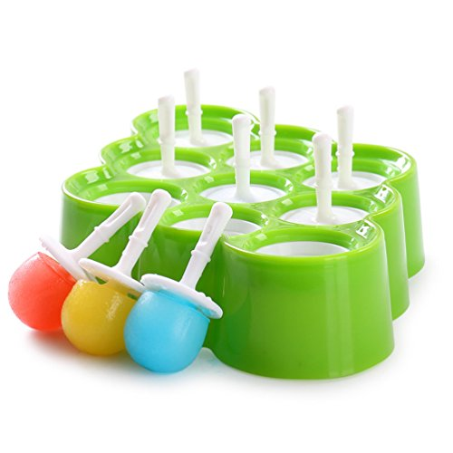 ENTOY Silicone Popsicle Molds,Mini Pop Molds With Sticks and Drip-guards 9 Miniature Ice Cream Maker Kit Green