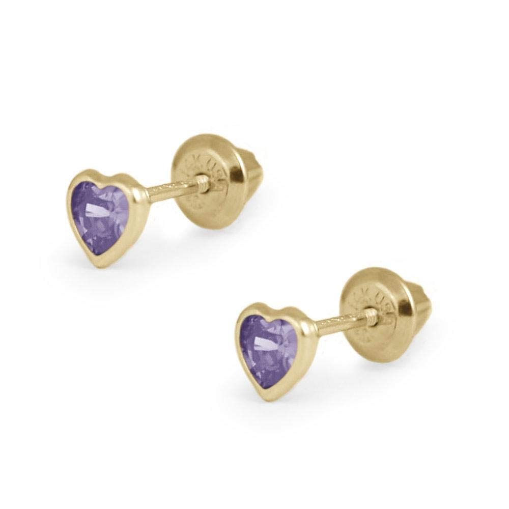 Girls 14K Yellow Gold Simulated Birthstone Heart Shape Screw Back Stud Earrings