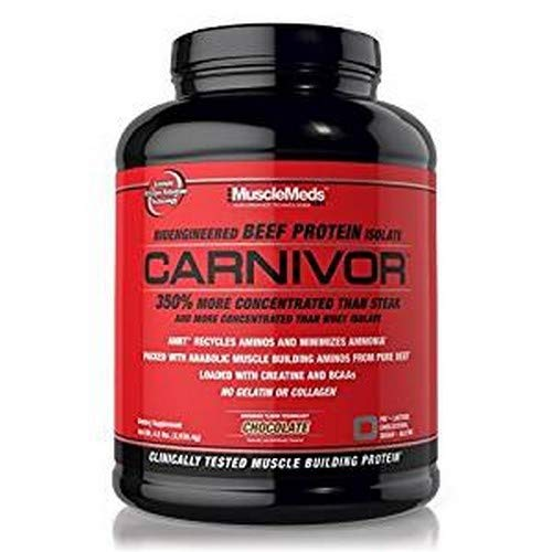 - MuscleMeds Carnivor Beef Protein Isolate Powder, Chocolate, 56 Servings