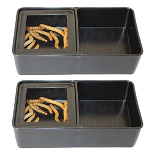 - Reptile Food Dish, Petforu 2 Pack Worm Dish Reptile Food & Water Bowls Small 2-In-1