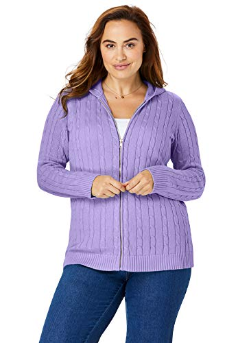 Woman Within Women's Plus Size Hooded Cable Knit Zip-Front Cardigan - 14/16, Soft Lavender