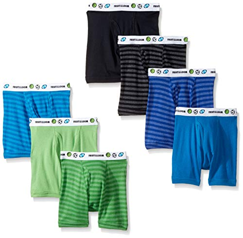 Fruit of the Loom Toddler Boy's Cotton Boxer Brief Underwear, Stripes/Solids - Assorted (Pack of 7), 4T/5T