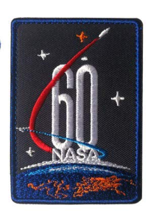 NASA 60TH Anniversary 1958-2018 Military Patch Fabric Embroidered Badges Patch Tactical Stickers for Clothes with Hook & Loop (color1)