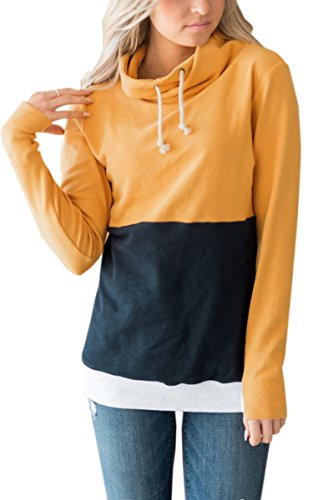 ECOWISH Womens Cowl Neck Stitching Striped Patchwork Pullover Hoodies Drawstring Sweater Long Sleeve Casual Sweatshirts