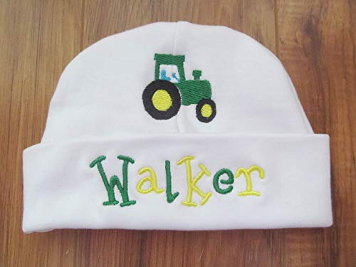 (Personalized Baby Embroidered Hat with Name and Tractor Baby Shower Gift Keepsake for Baby Girl or)