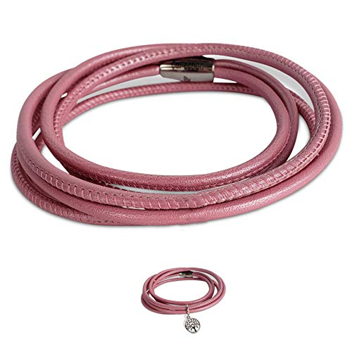 Calfskin Leather Metallic (Endless Jewelry Triple Pink Metallic Leather Bracelet (Band Only) with a Steel Lock for Women and Girls | Wrist Jewelry with Magnetic Clasp | Birthday Valentines Christmas Anniversary)