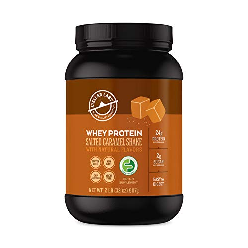 Stellar Labs Pure Cold-Pressed Salted Caramel Whey Protein Powder, Gluten-Free, High Protein, All Natural with Stevia, Low FODMAP, 28 Servings, 32oz