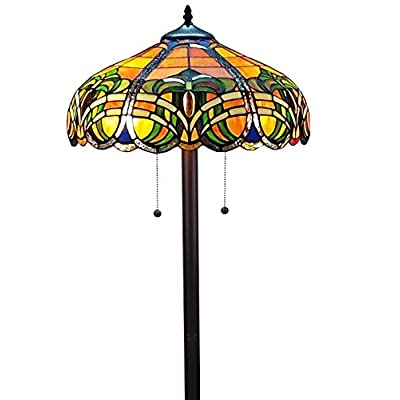 Image of Amora Lighting Tiffany Style Floor Lamp Standing 62' Tall Stained Glass Yellow Blue Green Antique Vintage Baroque Light Decor Bedroom Living Room Reading Gift AM1072FL16, 16 inches Diameter, 62 inches Home Improvements